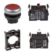 Set article illuminated pushbutton Eaton M22-DL-R/-A/-LED230-R/-K01
