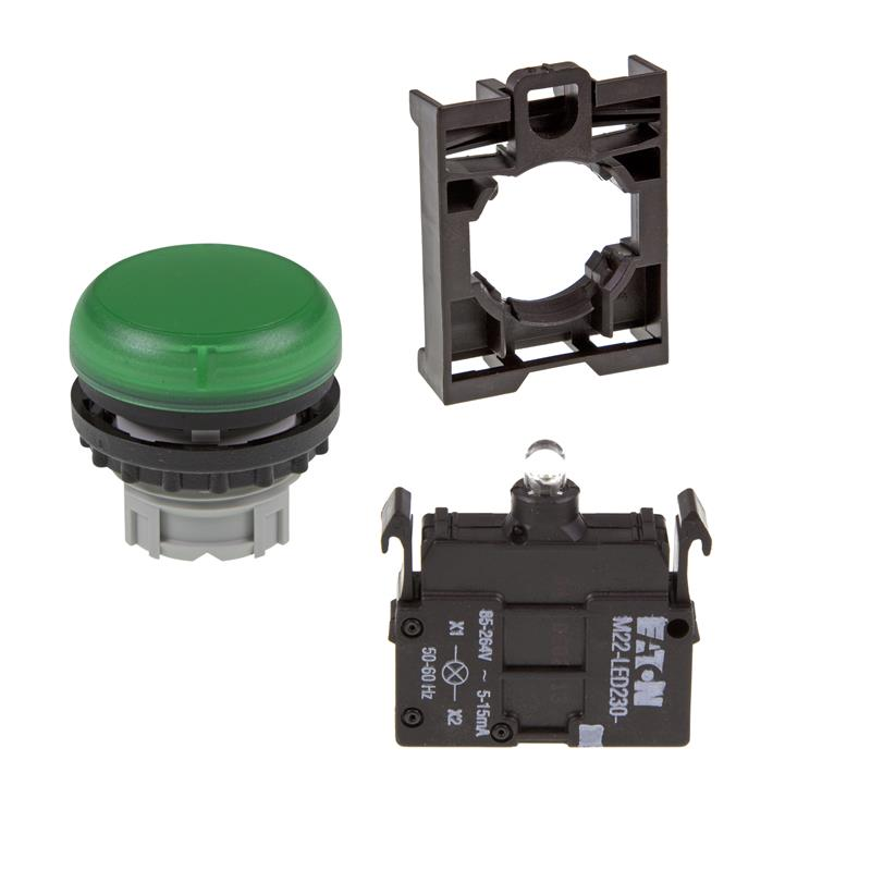 Set article light indicator (green) Eaton M22-L-G/-A/-LED230-G