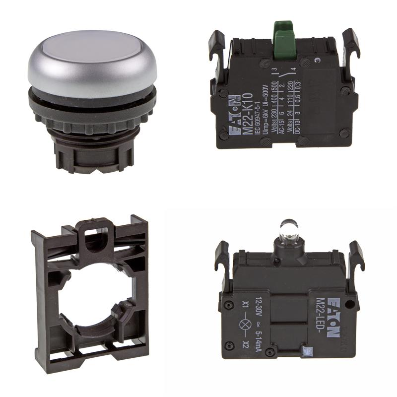 Set article illuminated pushbutton Eaton M22-DL-W/-A/-LED-W/-K10