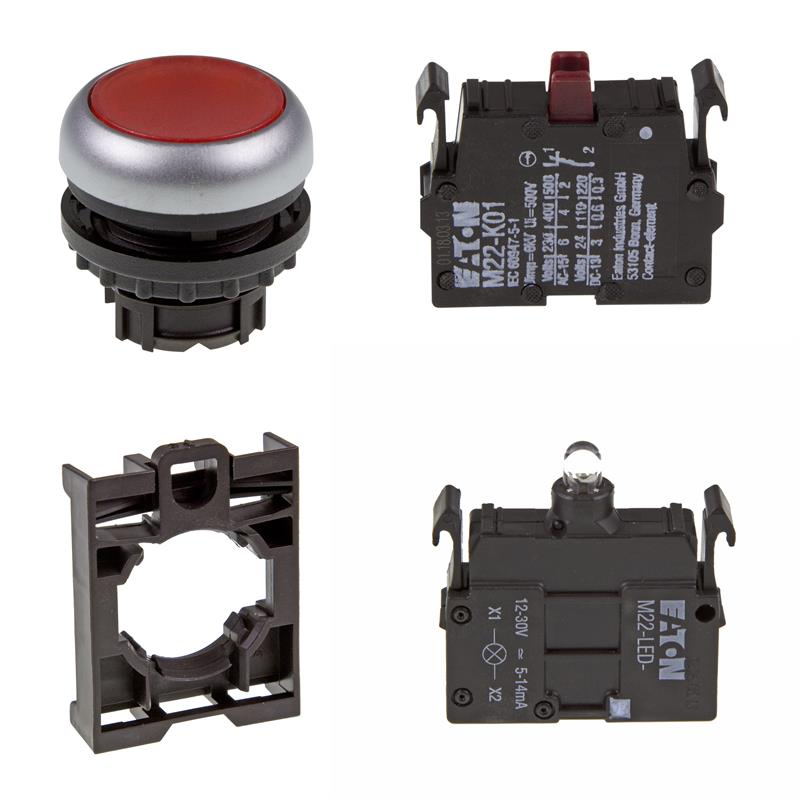 Set pulsante luminoso Eaton M22-DL-R/-A/-LED-R/-K01