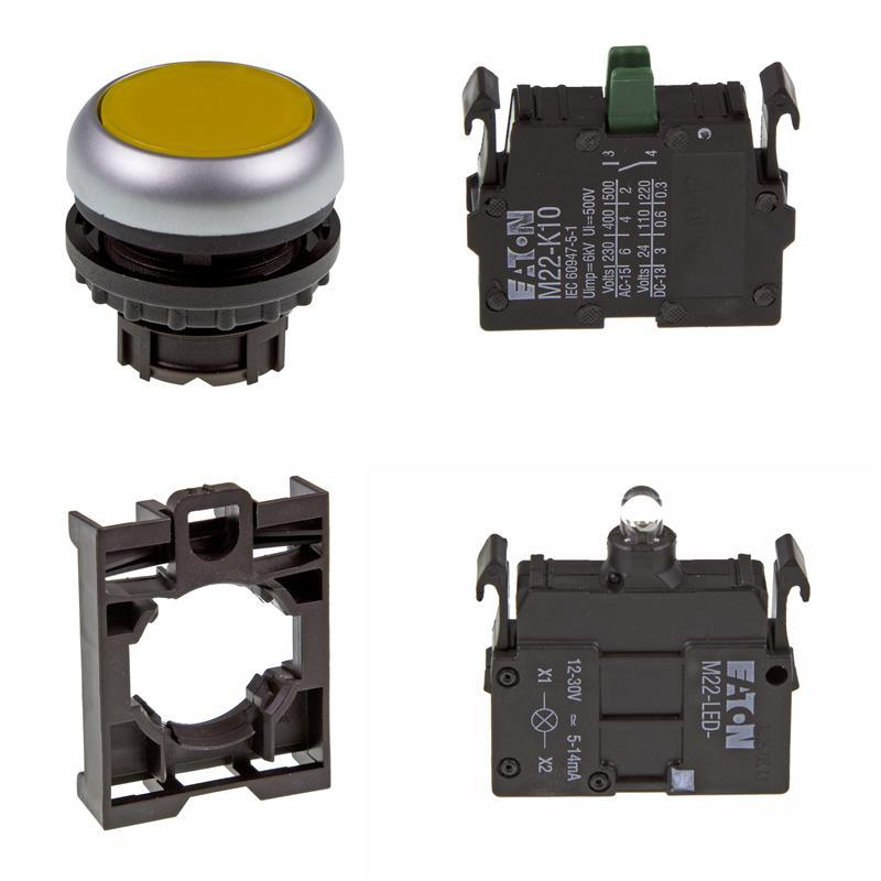 Set article illuminated pushbutton Eaton M22-DL-Y/-A/-LED-W/-K10