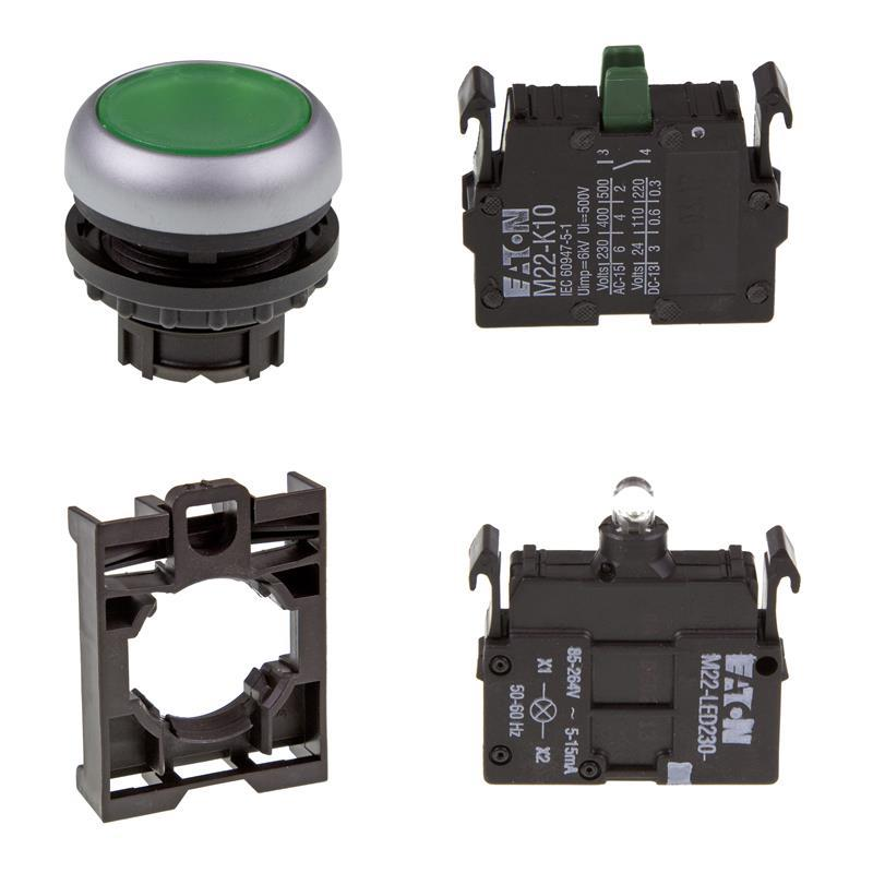 Set pulsante luminoso Eaton M22-DL-G/-A/-LED230-G/-K10