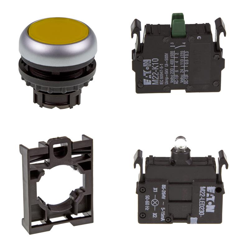 Set article illuminated pushbutton Eaton M22-DL-Y/-A/-LED230-W/-K10