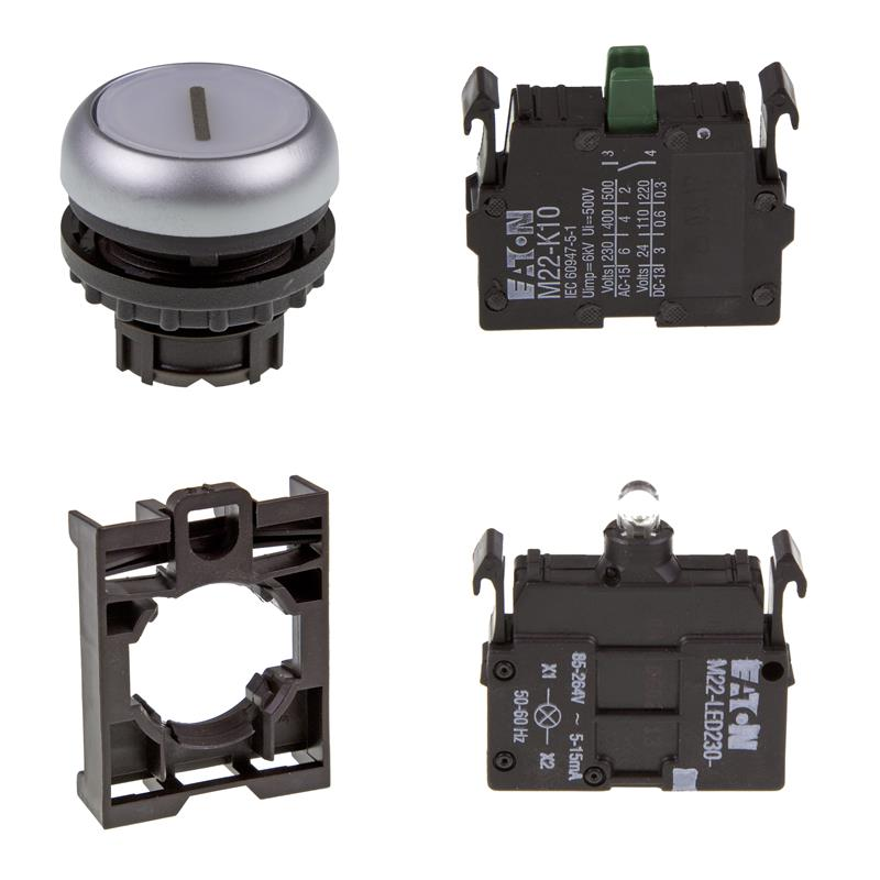 Set article illuminated pushbutton Eaton M22-DL-W-X1/-A/-LED230-W/-K10