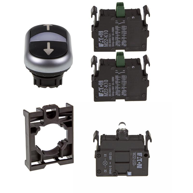 Set article double actuator Eaton M22-DDL-S-X7/X7/-A/-LED-W/-K10/-K10