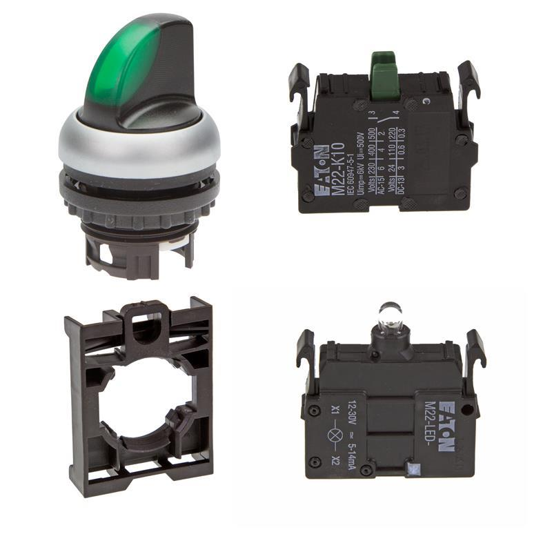 Set article illuminated selector switch actuator Eaton M22-WRLK-G/-A/-LED-G/-K10