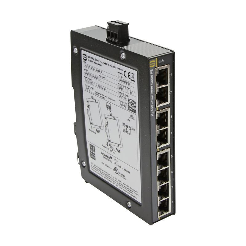 Fast Ethernet Switch, unmanaged, 8-Ports - HARTING Ha-VIS eCon 3080B-A
