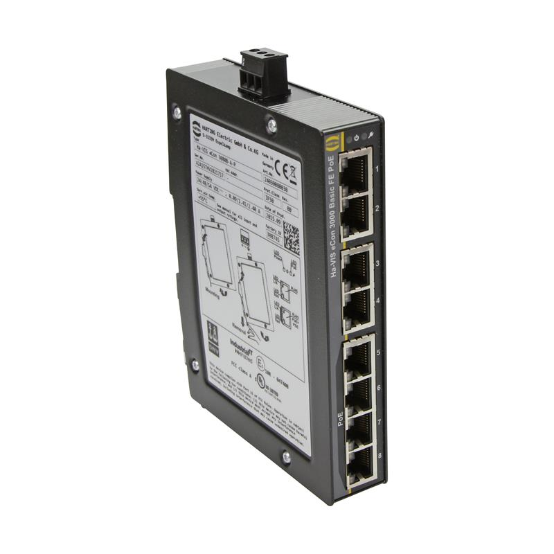 Fast Ethernet Switch, PoE/PoE+, unmanaged, 8-Ports - HARTING Ha-VIS eCon 3080B-A-P