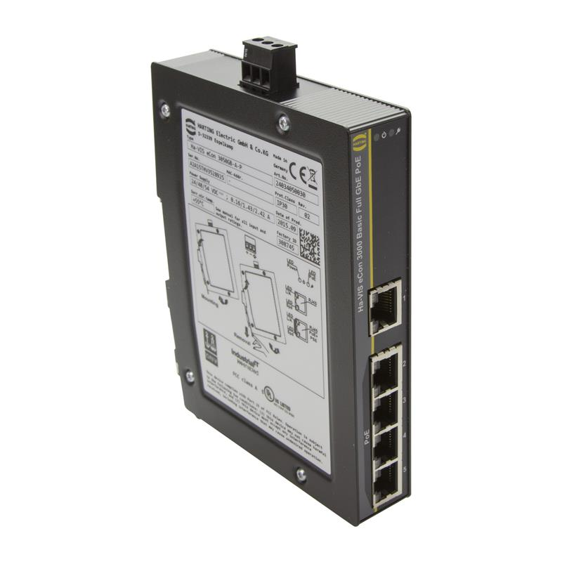 Commutateur Ethernet Full Gigabit, PoE/PoE+, non géré, à 5 ports - HARTING Ha-VIS eCon 3050GB-A-P