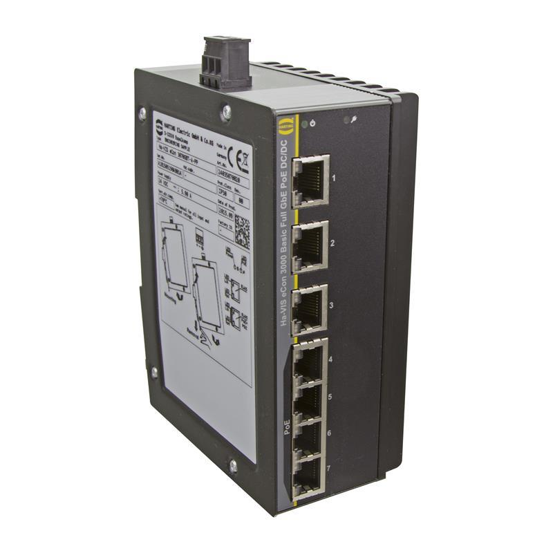 Full Gigabit Ethernet Switch, PoE/PoE+, unmanaged, 7-Ports - HARTING Ha-VIS eCon 3070GBT-A-PP
