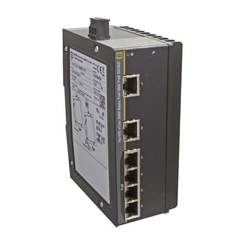 Full Gigabit Ethernet Switch, PoE/PoE+, unmanaged, 6-Ports - HARTING Ha-VIS eCon 3060GBT-A-PP