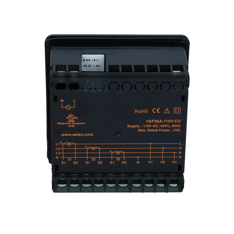 Voltage Current Frequency Meter Selec VAF36A-110V-CU