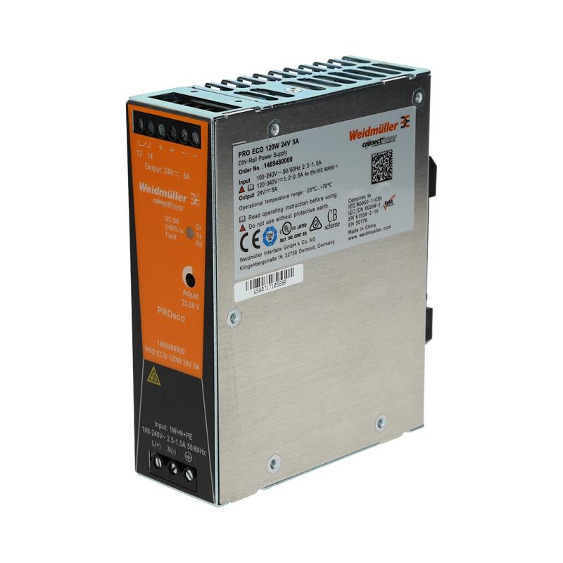 DIN rail power supply Weidmüller PROeco 120W 24V 5A - 1469480000