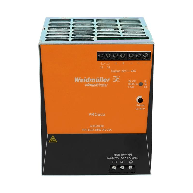 DIN rail power supply Weidmüller PROeco 480W 24V 20A - 1469510000