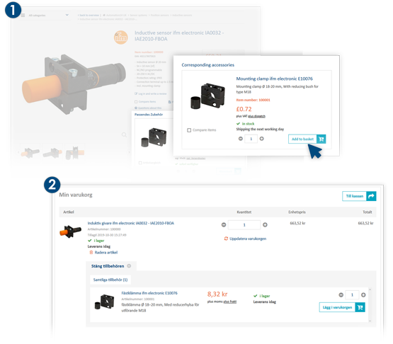 Recommendation for suitable product accessories at Automation24