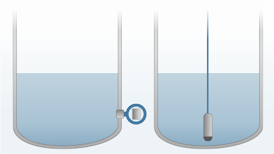 Figure 4 – Direct mounting (left), submersible probe (right)