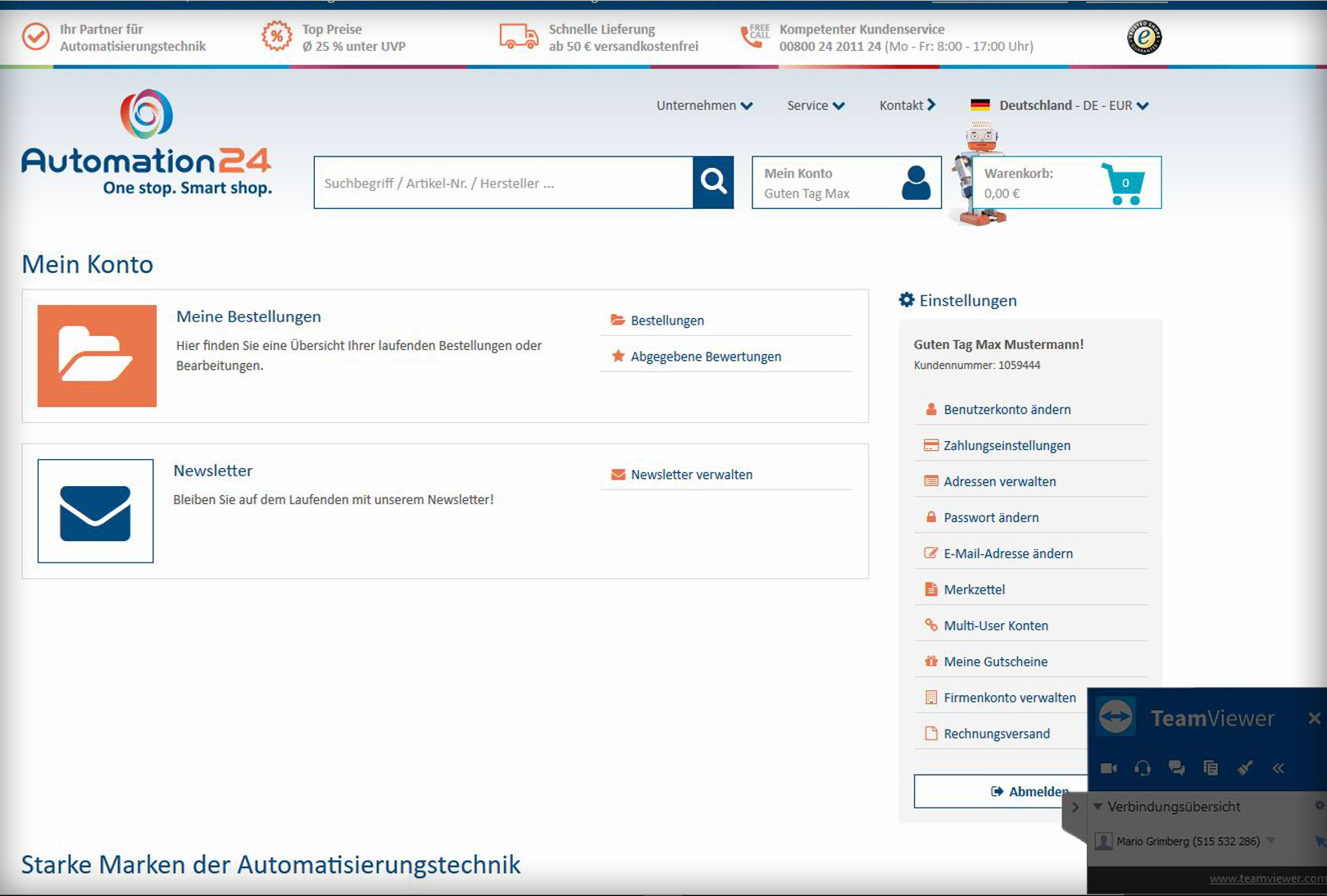 Automation24 Remote Support bei Shopfragen